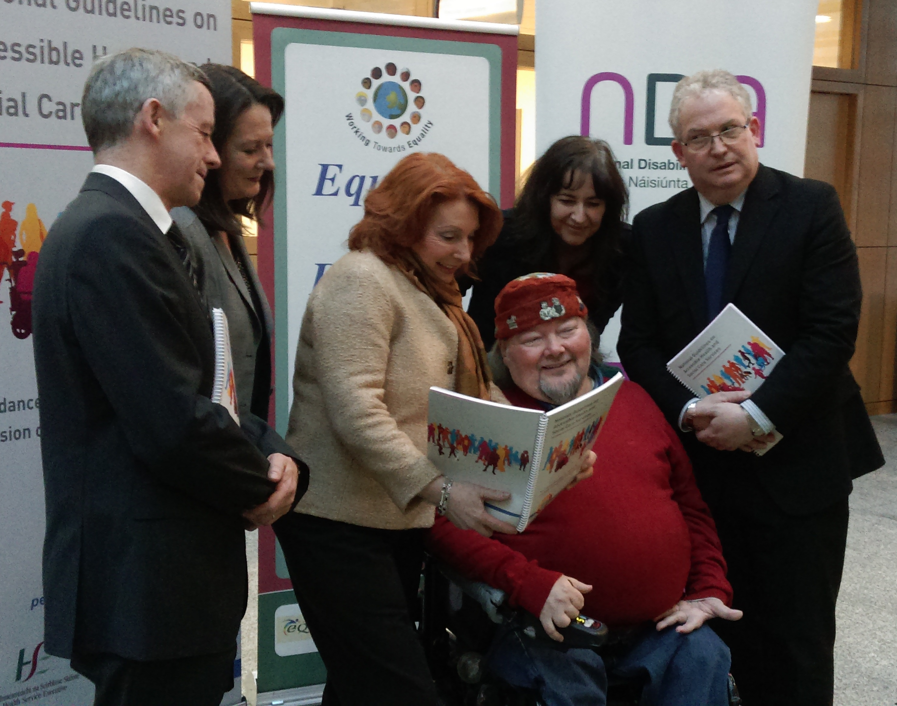 left to right: Dr Philip Crowley (HSE); Siobhan Barron (NDA), Minister Kathleen Lynch; Martin Naughton; Dr Mary Day (Mater Hospital); and Tony O'Brien (HSE)